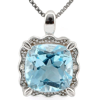 SMASHING 2.61 CARAT BLUE TOPAZ & GENUINE DIAMOND PLATINUM OVER 0.925 STERLING SILVER PENDANT