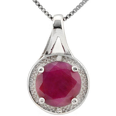 SMASHING 2.51 CARAT  GENUINE RUBY & GENUINE DIAMOND PLATINUM OVER 0.925 STERLING SILVER PENDANT