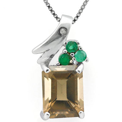 GORGEOUS 2.326 CARAT TW SMOKEY TOPAZ & GENUINE EMERALD PLATINUM OVER 0.925 STERLING SILVER PENDANT