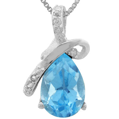 PRICELESS ! 1 3/5 CARAT BABY SWISS BLUE TOPAZ & DIAMOND 925 STERLING SILVER PENDANT