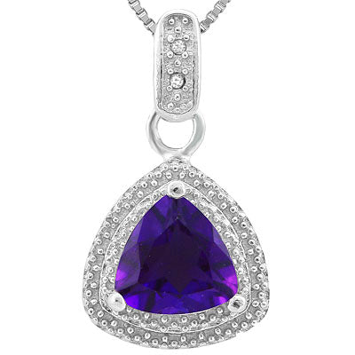 PRECIOUS 1.012 CARAT TW AMETHYST & GENUINE DIAMOND PLATINUM OVER 0.925 STERLING SILVER PENDANT