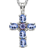 LOVELY 0.66 CT GENUINE TANZANITE & GENUINE TANZANITE PLATINUM OVER 0.925 STERLING SILVER PENDANT