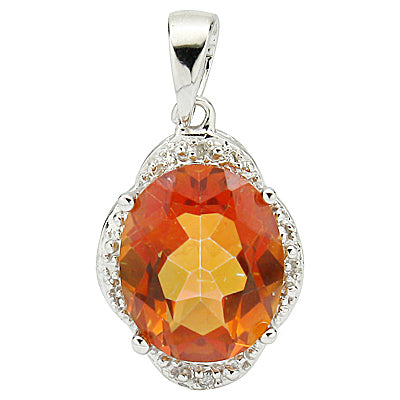 PRICELESS 3.32 CT AZOTIC GEMSTONE & 2 PCS GENUINE DIAMOND PLATINUM OVER 0.925 STERLING SILVER PENDANT