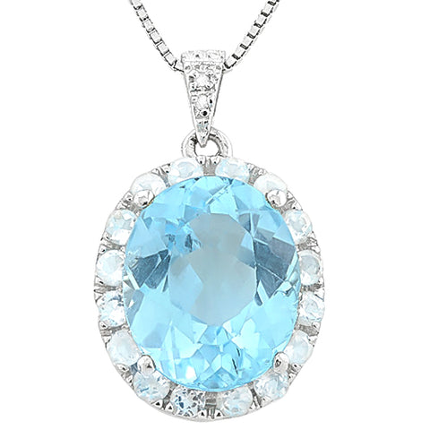 MARVELOUS ! BABY SWISS BLUE TOPAZ & 11 1/5 CARAT (16 PCS) WHITE TOPAZ 925 STERLING SILVER PENDANT