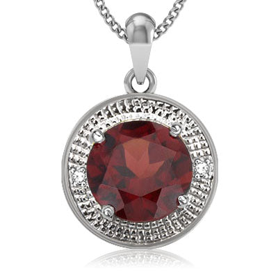 SPECTACULAR 3.87 CT GARNET & 2 PCS WHITE DIAMOND PLATINUM OVER 0.925 STERLING SILVER PENDANT