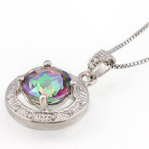 BEAUTIFUL 1.66 CARAT TW MYSTIC GEMSTONE & GENUINE DIAMOND PLATINUM OVER 0.925 STERLING SILVER PENDANT