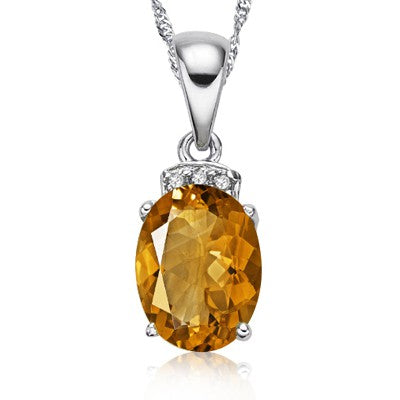 1.28 CT CITRINE & 0.02CT WHITE DIAMOND 0.925 STERLING SILVER PENDANT