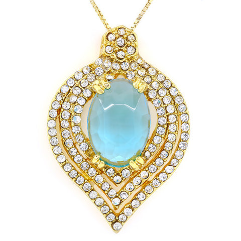 ELITE ! CREATED BABY SWISS BLUE TOPAZ & FLAWLESS CREATED DIAMOND 18K GOLD PLATED GERMAN SILVER PENDANT