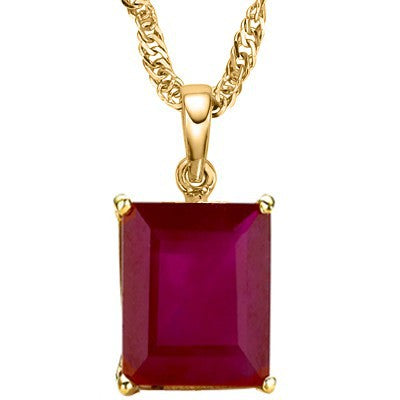 ALLURING 2.24 CT GENUINE RUBY 10K SOLID YELLOW GOLD PENDANT
