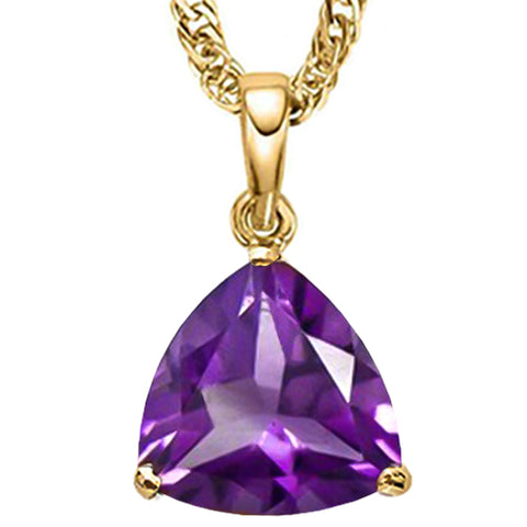 10K Solid Yellow Gold Trillion shape 5MM Natural Amethyst Pendants