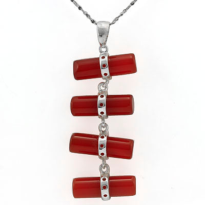 ELITE RED AGATE WHITE GERMAN SILVER PENDANT