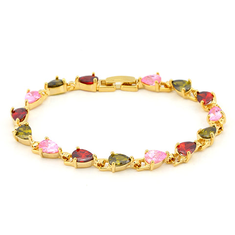 CREATED MULTI COLOR SAPPHIRE 18K GOLD PLATED GERMAN SILVER BRACELET FOR WOMEN