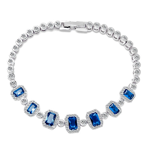 14KT High Quality White Gold-Plated Created Sapphire Ladies German Silver bracelet 7 inches