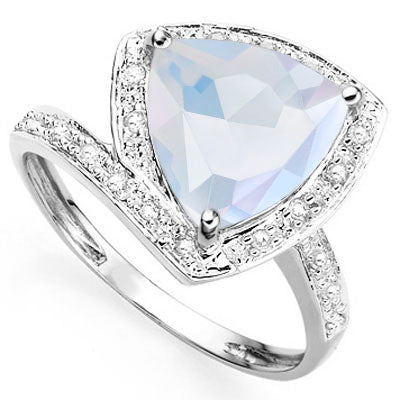 SMASHING 2.84 CARAT TW CREATED FIRE OPAL & GENUINE DIAMOND PLATINUM OVER 0.925 STERLING SILVER RING2.84