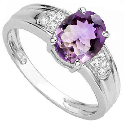 AMAZING 1.66 CARAT AMETHYST & GENUINE DIAMOND 925 STERLING SILVER RING