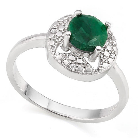 WHOPPING 1 1/5 CARAT ENHANCED GENUINE EMERALD  &   GENUINE DIAMONDS 925 STERLING SILVER RING