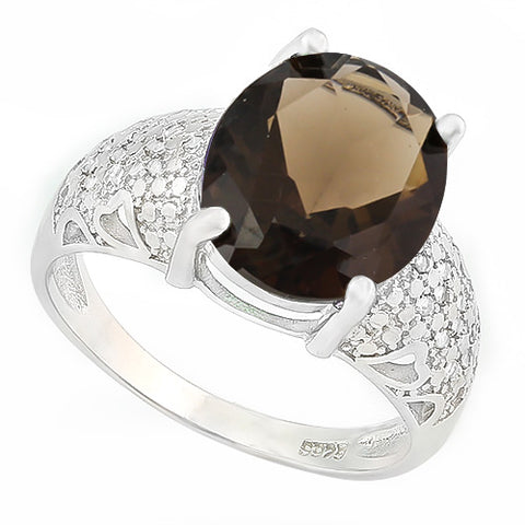 HUMONGOUS 4 CARAT SMOKEY TOPAZ &   GENUINE DIAMONDS 925 STERLING SILVER RING