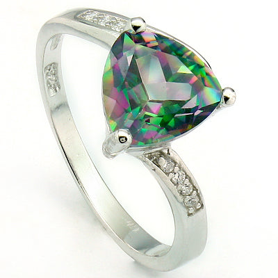 ALLURING 1.90 CT MYSTIC GEMSTONE & 12 PCS CREATED WHITE SAPPHIRE 0.925 STERLING SILVER W/ PLATINUM RING