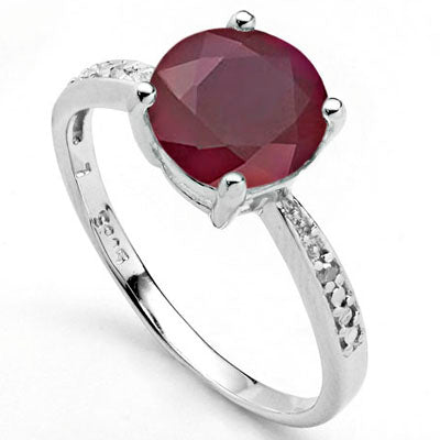 PERFECT 2.51 CARAT GENUINE RUBY & GENUINE DIAMOND PLATINUM OVER 0.925 STERLING SILVER RING