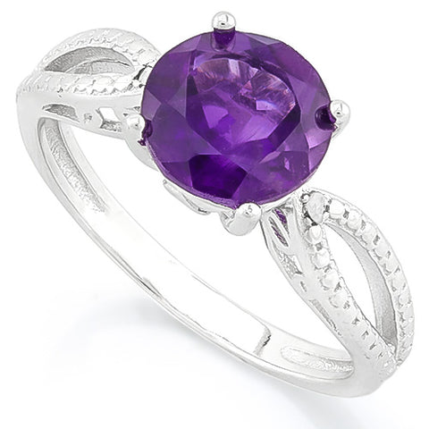 CAPTIVATING 1.96 CARAT TW AMETHYST & GENUINE DIAMOND PLATINUM OVER 0.925 STERLING SILVER RING
