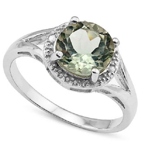 HULKING 1 3/4 CARAT GREEN AMETHYST & GENUINE DIAMONDS 925 STERLING SILVER RING