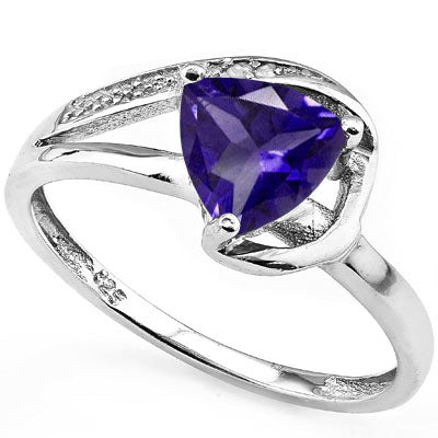 STUNNING ! 2 1/5 CARAT LAB TANZANITE & DIAMOND 925 STERLING SILVER RING