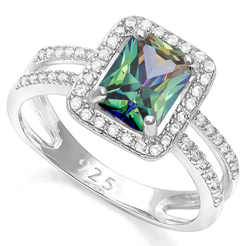 3 CARAT CREATED GREEN MYSTIC GEMSTONE & 2/5 CARAT CREATED WHITE SAPPHIRE 925 STERLING SILVER RING
