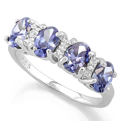 1 4/5 CARAT LAB TANZANITE & GENUINE DIAMOND 925 STERLING SILVER RING