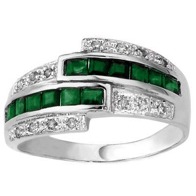ALLURING 0.58 CT GENUINE EMERALD & 2 PCS WHITE DIAMOND PLATINUM OVER 0.925 STERLING SILVER RING