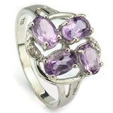 LOVELY 1.90 CT AMETHYST & 2 PCS WHITE DIAMOND PLATINUM OVER 0.925 STERLING SILVER RING