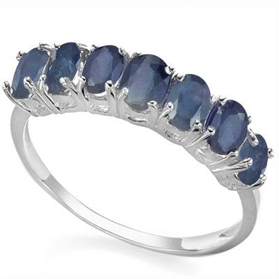 1.89 CARAT TW (7 PCS) GENUINE SAPPHIRE PLATINUM OVER 0.925 STERLING SILVER RING