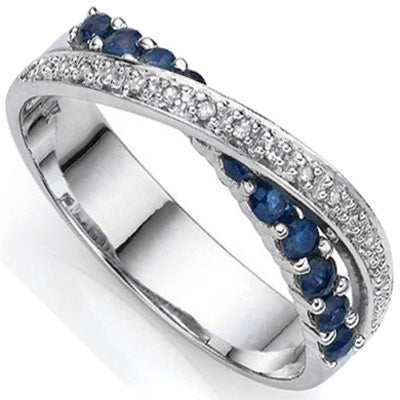 1/2 CT SAPPHIRE & DIAMOND 925 STERLING SILVER RING