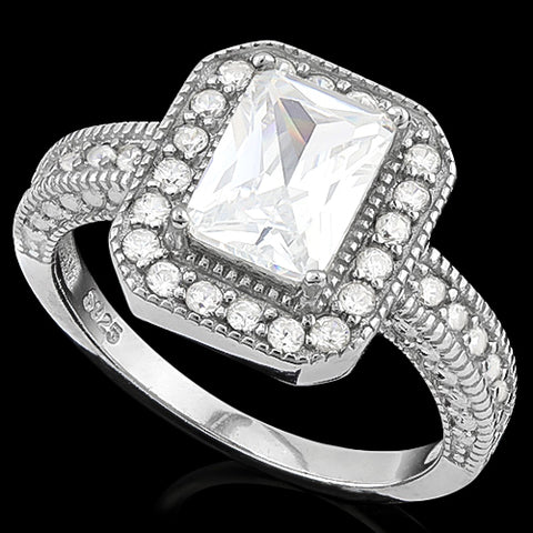 MESMERIZING! 2 CARAT (35 PCS) FLAWLESS CREATED DIAMOND 925 STERLING SILVER RING