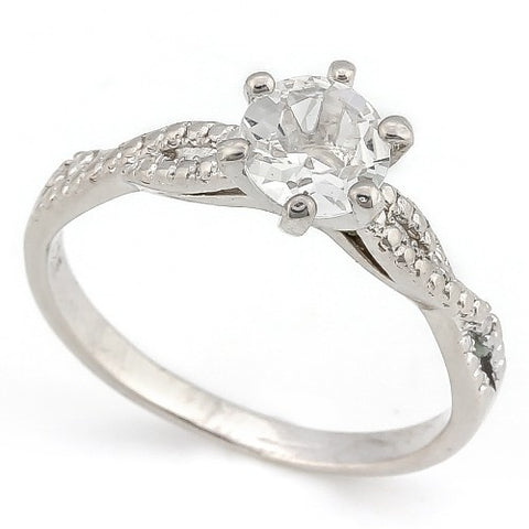 IDEAL ! 4/5 CARAT WHITE TOPAZ & DIAMOND 925 STERLING SILVER RING