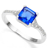 1 1/2 CARAT CREATED LONDON BLUE TOPAZ & CREATED WHITE SAPPHIRE 925 STERLING SILVER RING