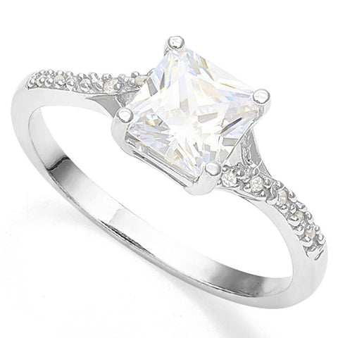 1 1/2 CARAT CREATED WHITE SAPPHIRE 925 STERLING SILVER RING