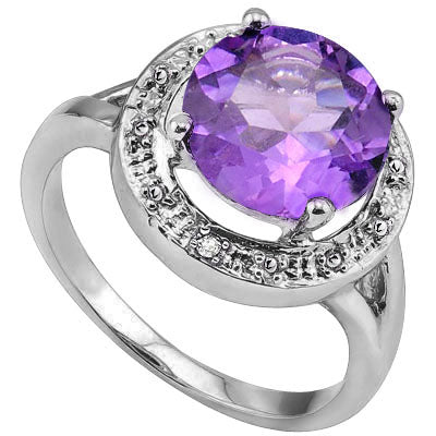 CLASSIC 3.40 CT AMETHYST & 2 PCS WHITE DIAMOND PLATINUM OVER 0.925 STERLING SILVER RING