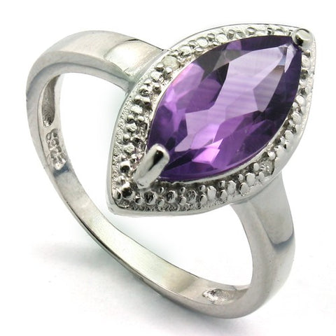PRECIOUS 1.63 CT AMETHYST & 2 PCS WHITE DIAMOND PLATINUM OVER 0.925 STERLING SILVER RING