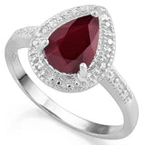 1 1/3 CT RUBY & DIAMOND 925 STERLING SILVER RING