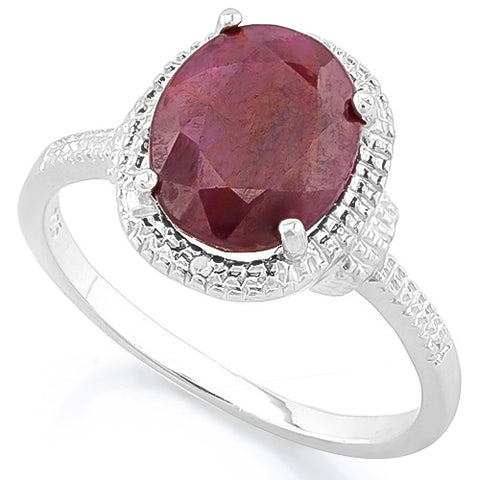 LUXURIANT ! 3 1/3 CARAT RUBY & DIAMOND 925 STERLING SILVER RING