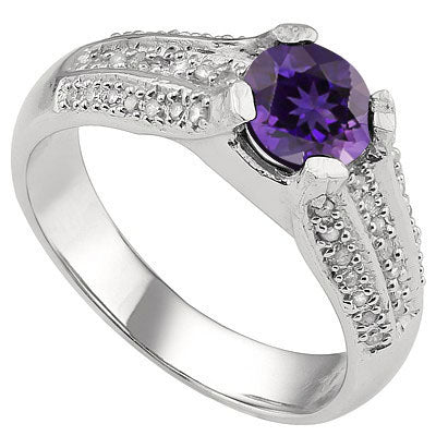 MARVELOUS 1.185 CARAT TW (3 PCS) AMETHYST & GENUINE DIAMOND PLATINUM OVER 0.925 STERLING SILVER RING