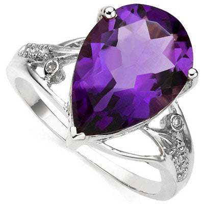 ASTONISHING 4.54 CT AMETHYST & 2 PCS WHITE DIAMOND 0.925 STERLING SILVER W/ PLATINUM RING