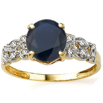 EXCLUSIVE 2.43 CT GENUINE BLACK SAPPHIRE & 12 PCS WHITE DIAMOND 10K SOLID YELLOW GOLD RING