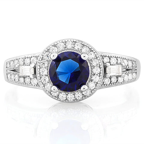MARVELOUS ! 1 CARAT CREATED BLUE SAPPHIRE 925 STERLING SILVER RING