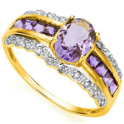 SPECTACULAR 0.80 CT AMETHYST & 8 PCS AMETHYST 24K GOLD PLATED 925 STERLING SILVER RING