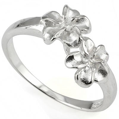 STUNNING PLUMERIA RING WITH 0.925 STERLING SILVER RING
