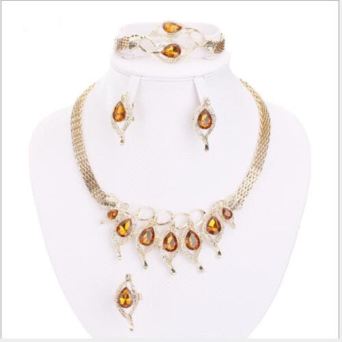 SUPERB ! CREATED ORANGE SAPPHIRE & CREATED DIAMOND 18K GOLD PLATED GERMAN SILVER 4PCS SET