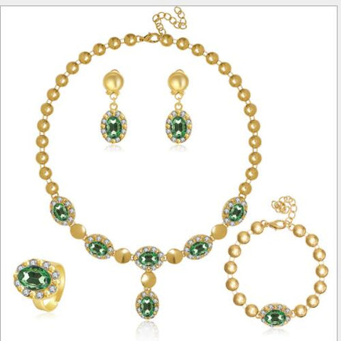 IDEAL ! CREATED EMERALD & CREATED DIAMOND 18K GOLD PLATED GERMAN SILVER 4PCS SET