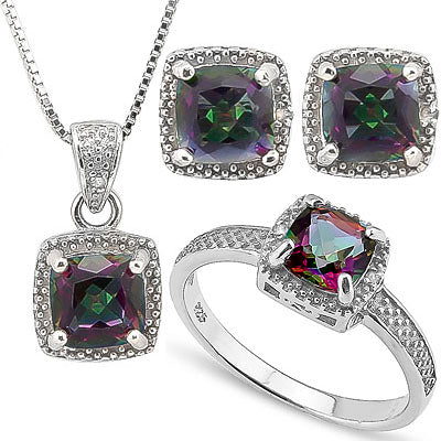 HUMONGOUS 4 CARAT MYSTIC GEMSTONE & DIAMOND 925 STERLING SILVER SET