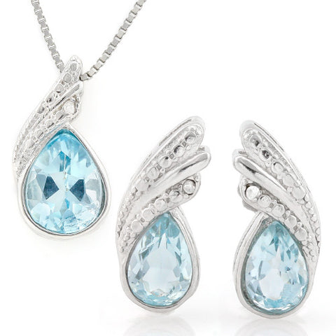 HULKING 2 1/4 CARAT BABY SWISS BLUE TOPAZ 925 STERLING SILVER SET
